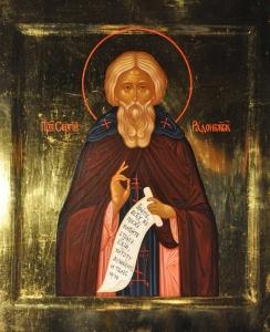 Старинная икона Сергий Радонежский