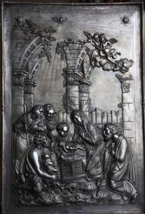 Икона Рождество в серебряном окладе