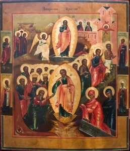Антикварная-икона-19-века.-Воскресение-Христово.