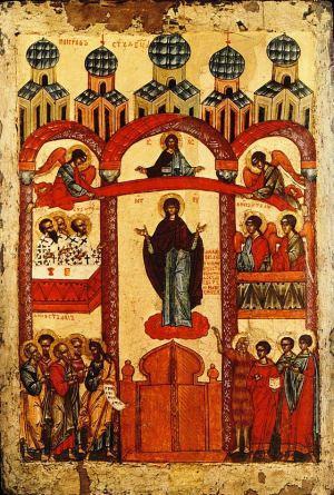 Покров Пресвятой Богородицы продать старинную икону